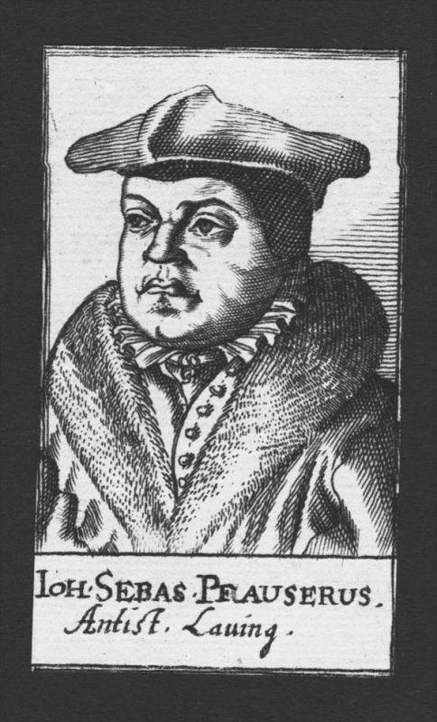 Johann Sebastian Pfauser Theologe Lauingen Österreich Kupferstich Portrait