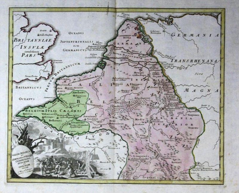Holland Niederlande Nederland map Karte Benelux Kupferstich Weigel