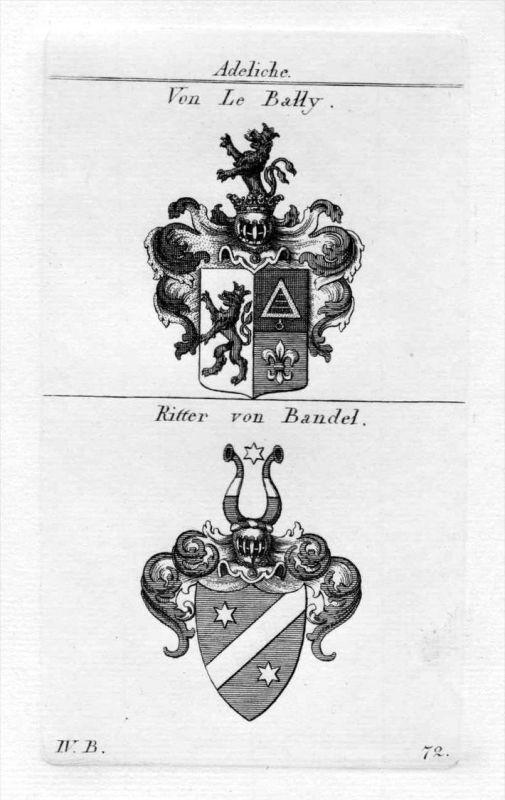 Le Bally Bandel - Wappen Adel coat of arms heraldry Heraldik Kupferstich