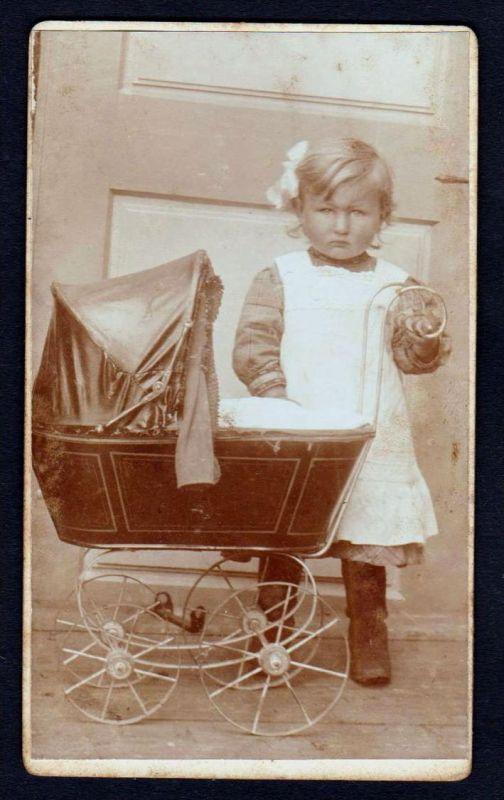 CDV Kind Mädchen Puppenwagen Kinderwagen girl Foto photo