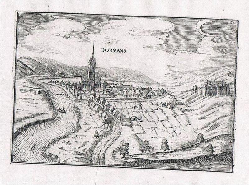 Dormans Epernay Champagne-Ardenne France view gravure Kupferstich Tassin