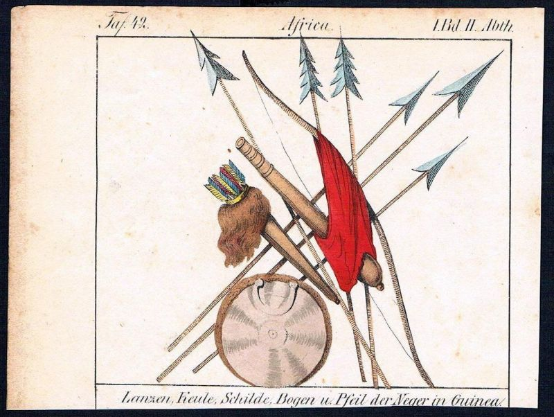 Afrika Africa Guinea weapons Waffen costumes Trachten Lithographie litho