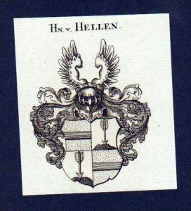 Herren von Hellen Original Kupferstich Wappen engraving Heraldik crest