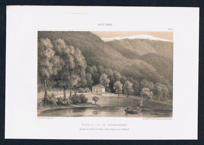 Lac de Retournemer Lorraine Elsass Alsace Lithographie Rothmuller