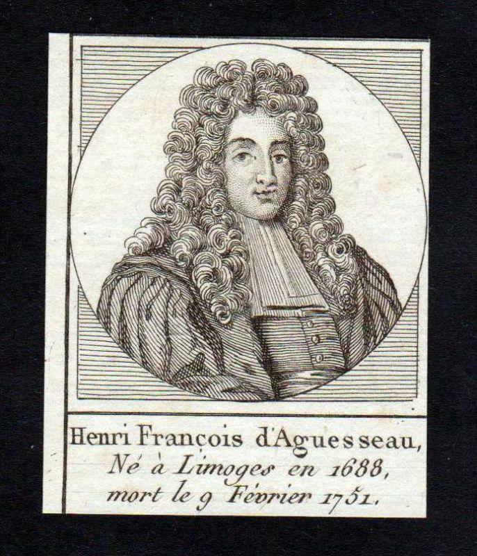 Henri Francois Aguesseau Kanzler Frankreich France Kupferstich Portrait
