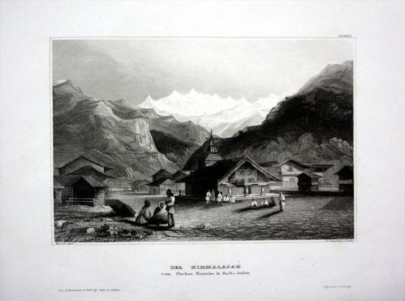 Himalaya Gebirge Kursalee Indien India Asien Asia engraving Stahlstich