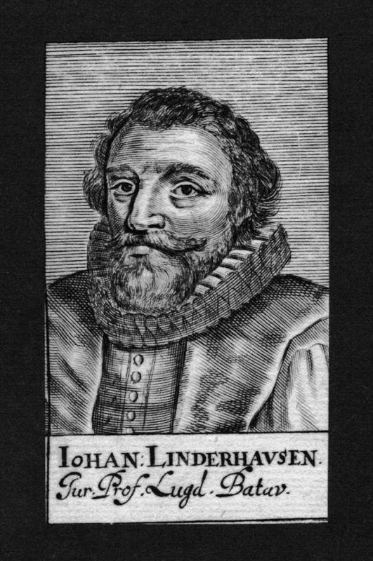 Johannes Linderhausen Jurist lawyer Leiden Holland Kupferstich Portrait