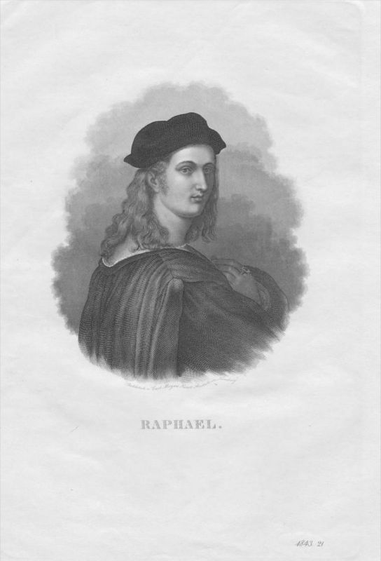 Raffael Maler Architekt Italien Italia Italy Original Stahlstich Portrait