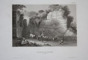 Grotto Pausilippe Grotte Napoli Neapel Ansicht Stahlstich engraving