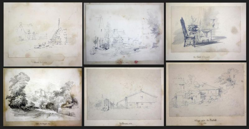 Sketch-Book with 46 original pencil drawings, two of them signed. - mostly landscape and town views, with a few interieu