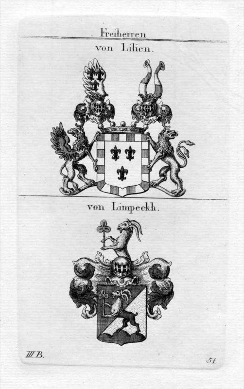 Lilien Limpeckh - Wappen Adel coat of arms heraldry Heraldik Kupferstich