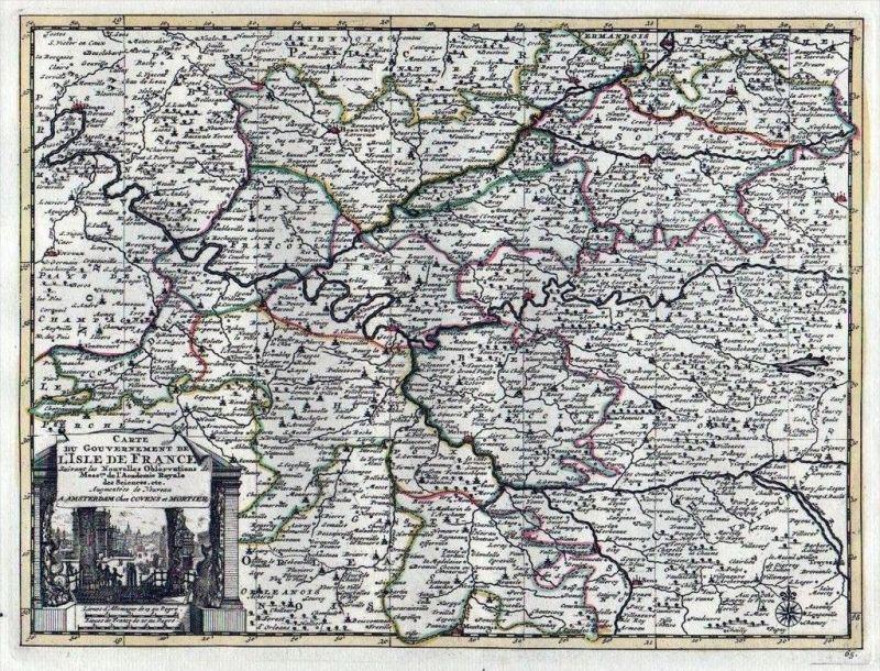 Paris Meaux Beauvais Soissins Melun Covens Mortier Karte map gravure