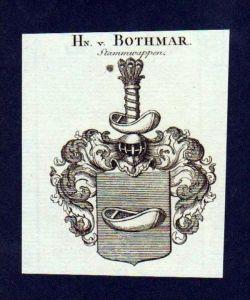 Herren von Bothmar Original Kupferstich Wappen engraving Heraldik crest