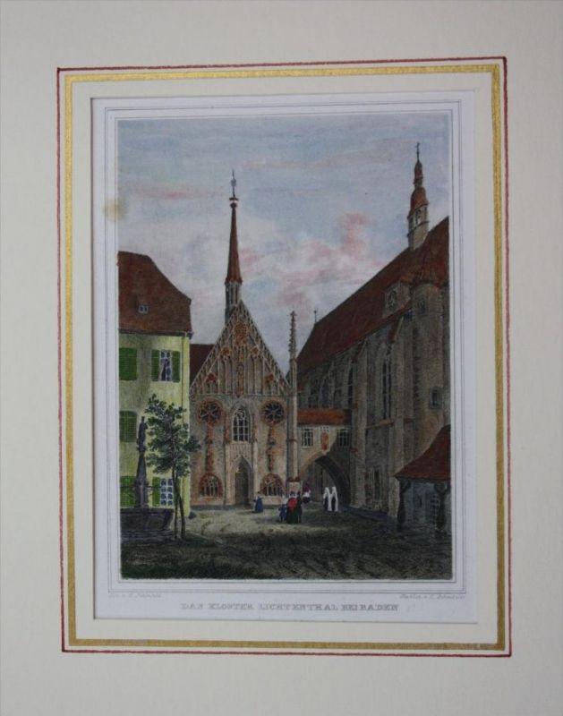 Lichtental Kloster kolorierter Stahlstich Passepartout