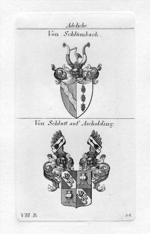 Schlümbach / Schlutt Ascholding - Wappen Adel coat of arms heraldry Heraldik Kupferstich