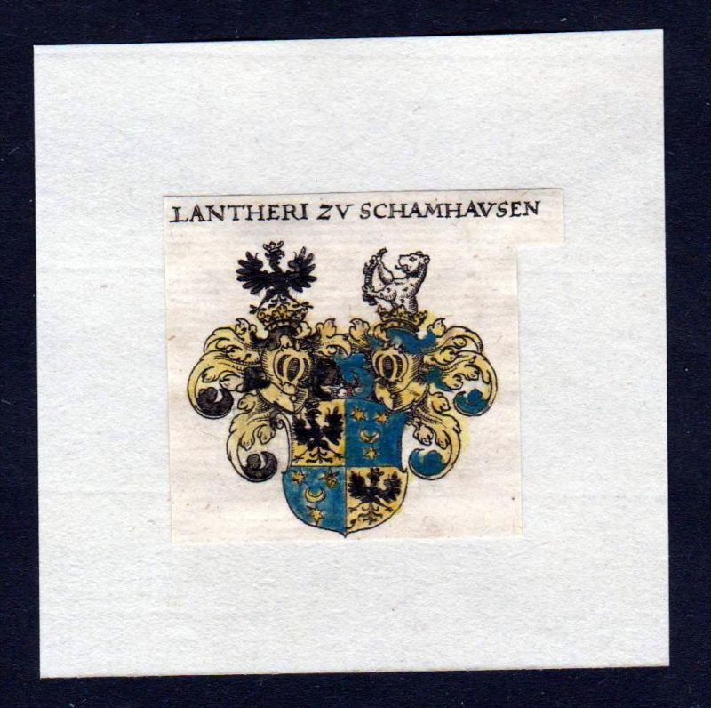 17. Jh Lantheri zu Schamhausen Wappen Adel coat of arms heraldry Heraldik Kupferstich