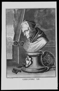 Gregor XII Angelo Correr Papst pope Italy engraving Kupferstich Portrait