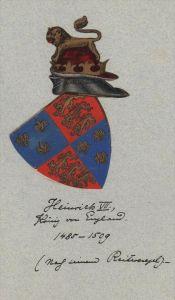 Heinrich VII König England Wappen Genealogie genealogy Original Aquarell