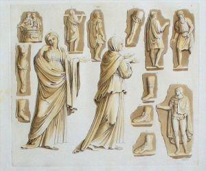 Römer Antike costumes Trachten Orig. Aquatinta acquaforte veduta