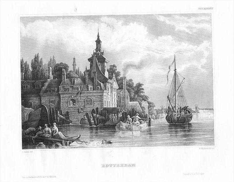 Rotterdam Ufer Schiffe Niederlande Nederland Holland Original Stahlstich