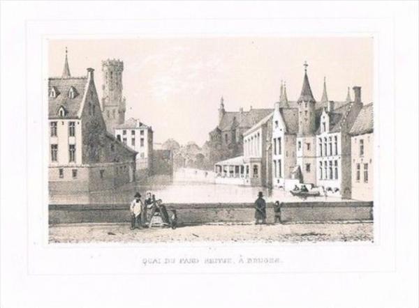 Bruges Brugge Quai Belgien Lithographie lithograph