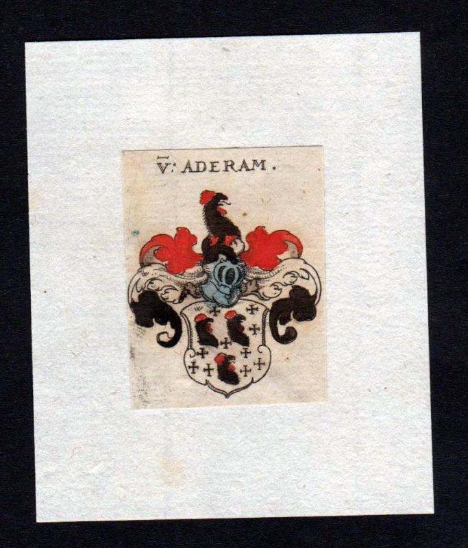17. Jh. Aderam Wappen coat of arms heraldry Heraldik Kupferstich