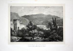 Chateau de Zwingen - Zwingen Schloss Kanton Basel - Schweiz Suisse Lithographie Villeneuve.