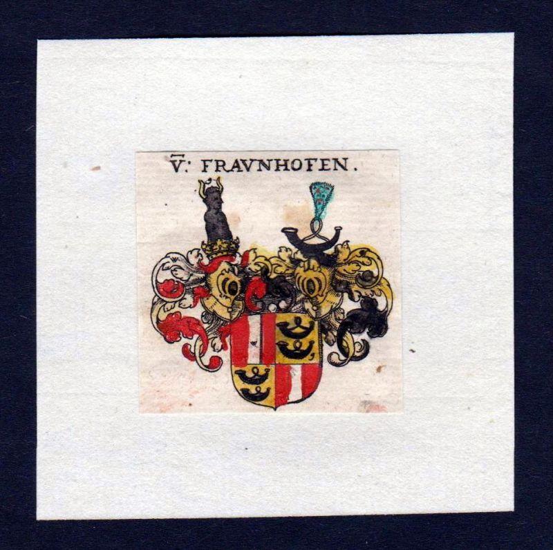 17. Jh Frauenhofen Wappen Adel coat of arms heraldry Heraldik Kupferstich