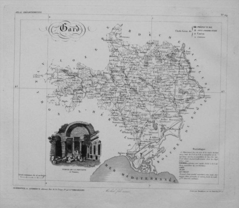 Departement Gard carte gravure Kupferstich Karte map France Frankreich