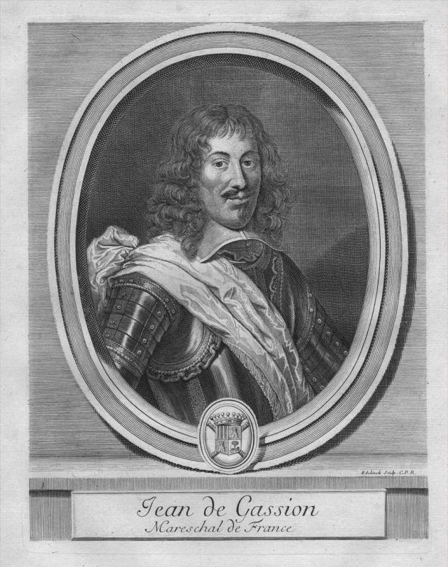 Jean de Gassion - Feldherr - Portrait Wappen Kupferstich engraving
