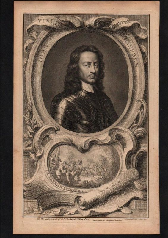 John Hampden English politician Politiker engraving Kupferstich Portrait
