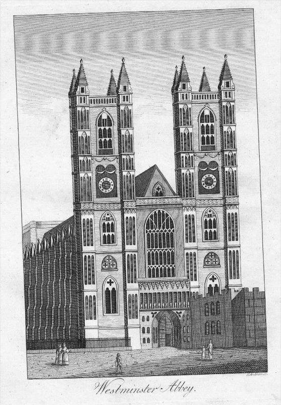 London Westminster Abbey Original Kupferstich