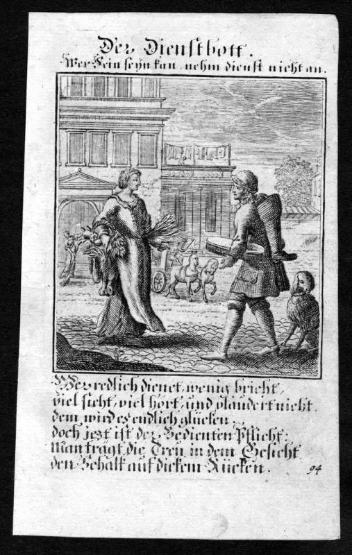 Dienstbote Bote menial Beruf profession Weigel Kupferstich antique print