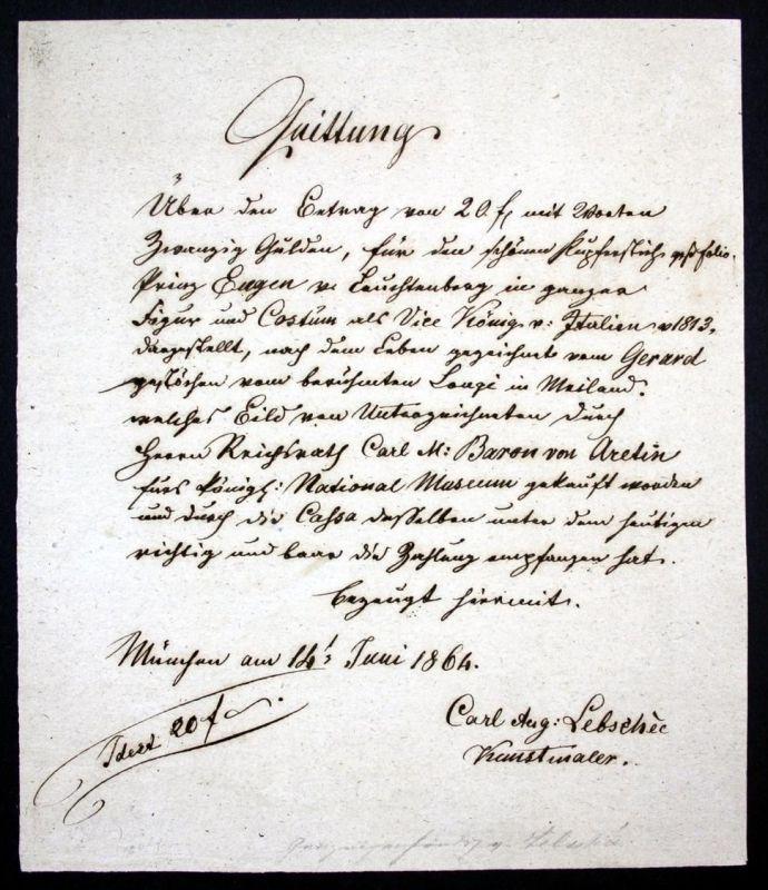 Handschriftliche Quittung über 20 Gulden für den Ankauf eines Kupferstich-Portraits in Groß-Folio des Prinz Eugen zu Leu