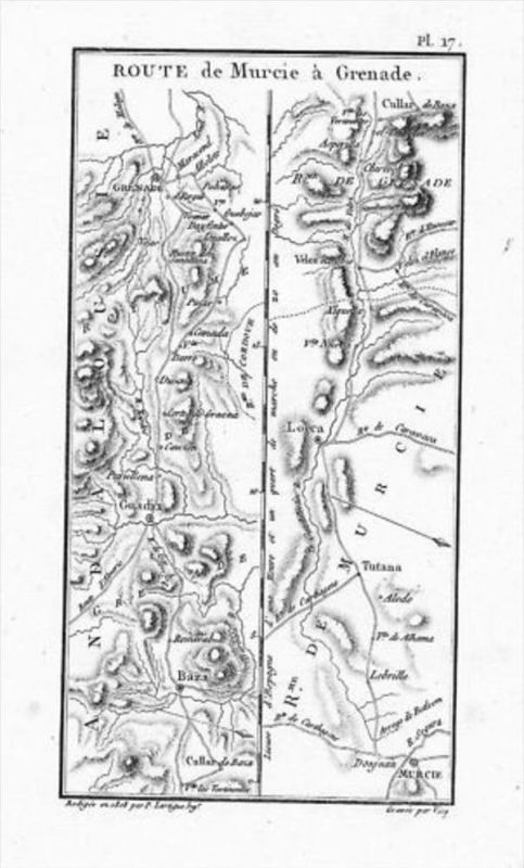 Murcia Granada Baza Guadix map Kupferstich