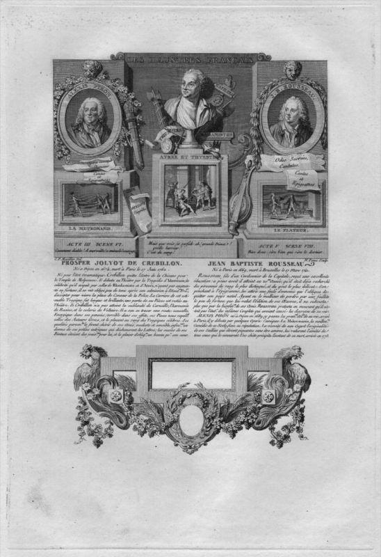 Prosper Jolyot Crebillon Jean-Baptiste Rousseau engraving gravure portrait