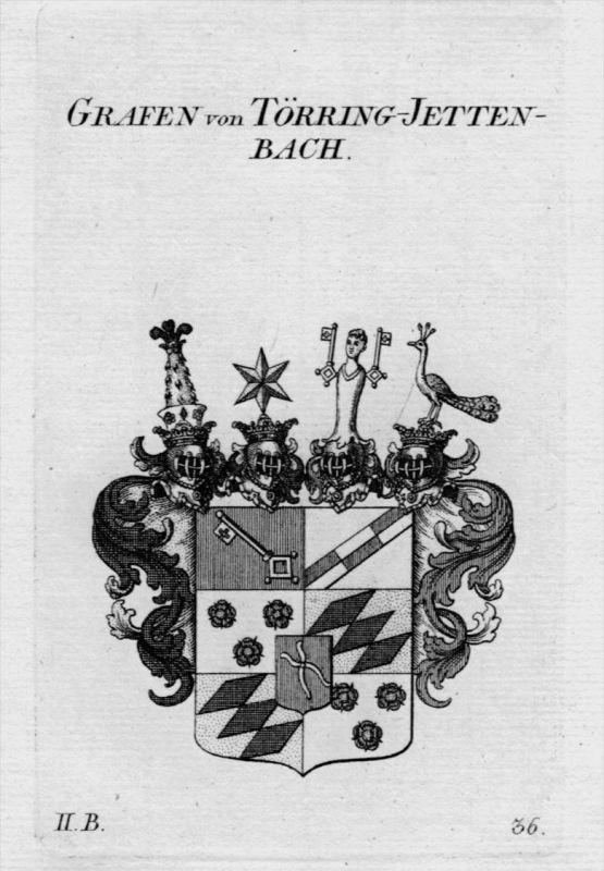 Törring Jetten Bach Wappen Adel coat of arms Heraldik crest Kupferstich