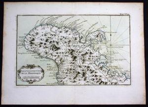 Martinique island Lesser Antilles Bellin handcolored antique map