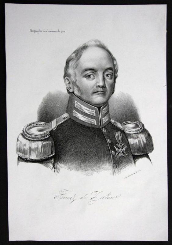 Frantz von Zellner Offizier General Frankreich Lithographie Portrait