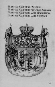 Waldburg Wolfegg Zeil Waldsee Wurzach Trauchburg Wappen Adel Kupferstich