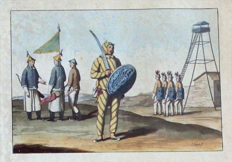 China Soldaten soldiers Original Aquatinta aquatint antique print