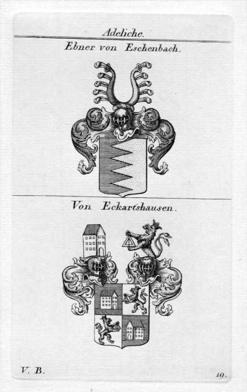 Ebner Eckartshausen - Wappen Adel coat of arms heraldry Heraldik Kupferstich