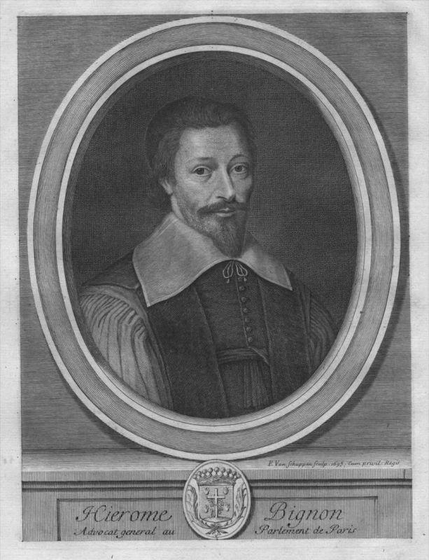 Hieronymus Bignon -  Portrait Wappen Kupferstich engraving
