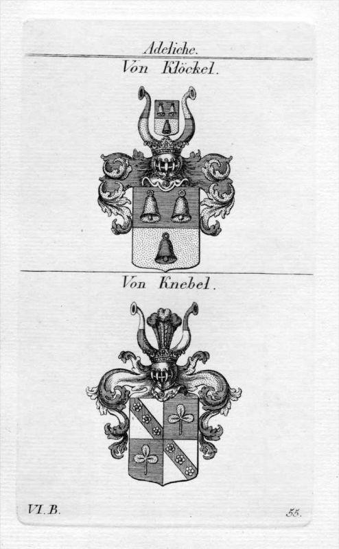 Von Klöckel / Von Knebel / Bayern - Wappen coat of arms Heraldik heraldry Kupferstich