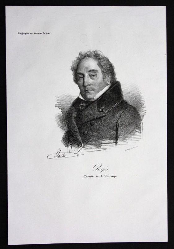 Jean Pierre Pages Politiker politician Frankreich Lithographie Portrait