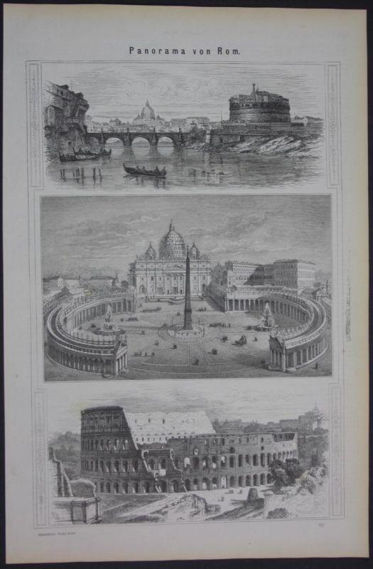 Rom Roma Rome Panorama Holzschnitt antique print
