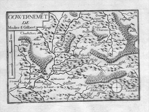 - Moulins-Engilbert Bourgogne Gravure Tassin estampe antique