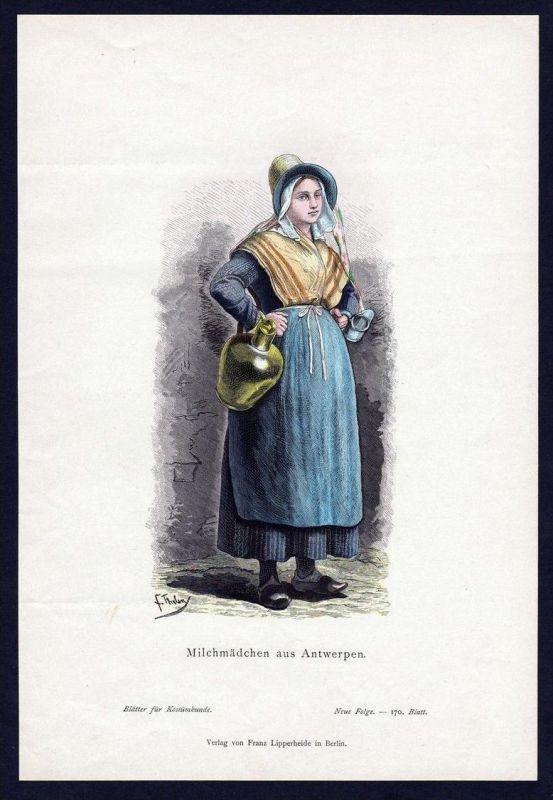 Milchmädchen Mädchen Antwerpen Trachten Tracht costume original Grafik