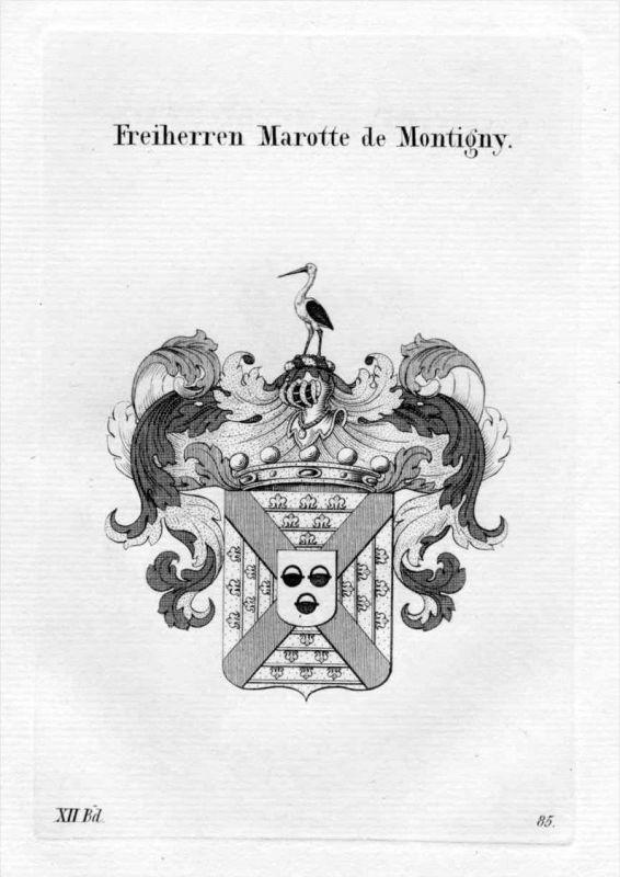Marotte de Montigny Adel Wappen coat of arms heraldry Heraldik Kupferstich