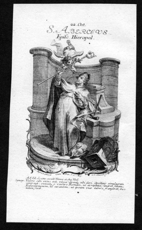 Abericus Marcellus 22. Oktober - Kupferstich Heiliger Heiligenbild Holy Card